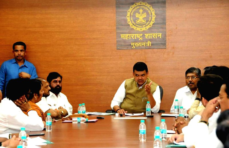 A Shiv Sena delegation calls on Maharashtra Chief Minister Devendra Fadnavis at Mantralaya in Mumbai, on Nov 19, 2014. - Devendra Fadnavis