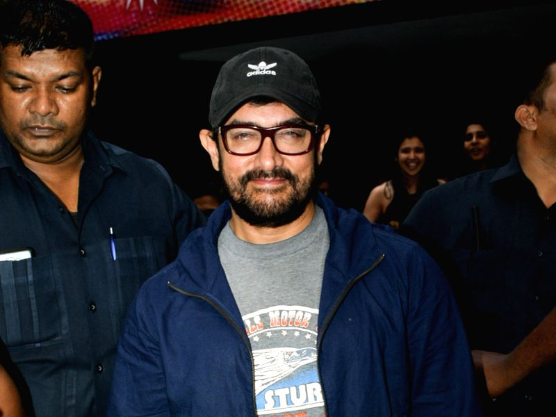 Mumbai: Actor Aamir Khan seen outside a theatre, in Mumbai's Juhu, on May 23, 2019.