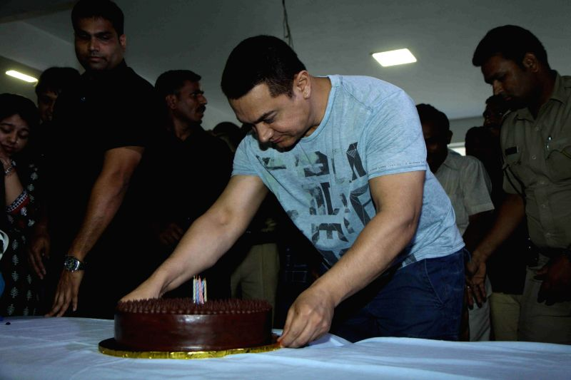 Actor Aamir Khan speaks to media on the eve of his 50th birthday in Mumbai on March 13, 2015.