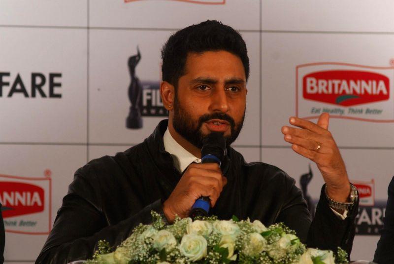 Actor Abhishek Bachchan during a press conference regarding 60th Filmfare Awards in Mumbai.