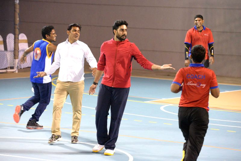 Actor Abhishek Bachchan during the launch of the multi-sport court of Jamnabai Narsee School in Mumbai on Jan 4, 2015.