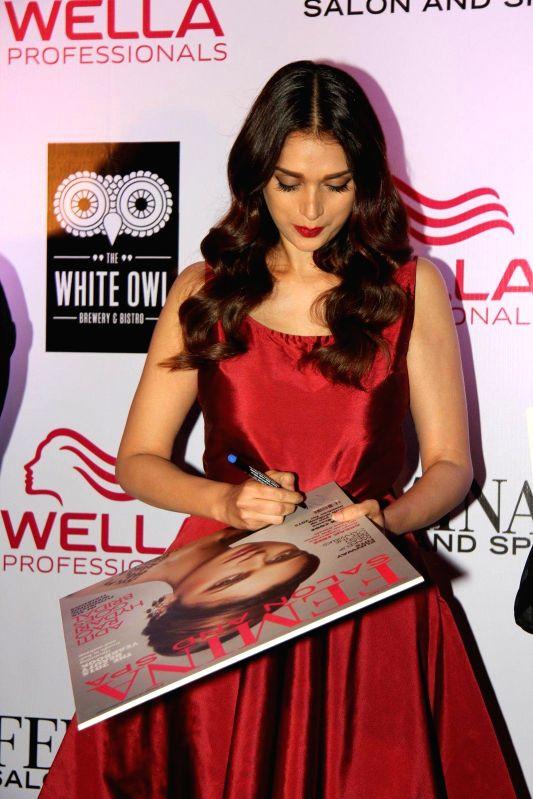 Actor Aditi Rao Hydari during the cover launch of Femina Salon and Spa magazine in Mumbai, on Jan 21, 2015.