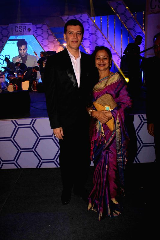 Actor Aditya Pancholi along with his wife Zarina Wahab during the ICAI CSR Awards 2014 in Mumbai, on Feb 5, 2015. - Aditya Pancholi