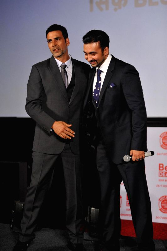 Actor Akshay Kumar and Raj Kundra during launch of Best Deal TV, India's first celebrity driven 24/7 Home Shopping Channel in Mumbai on March 5, 2015. - Akshay Kumar and Raj Kundra