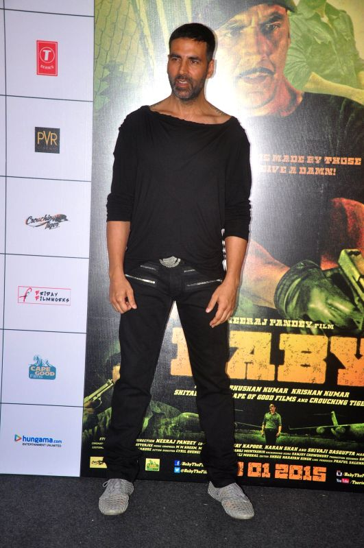 Actor Akshay Kumar during the trailer launch of film Baby in Mumbai,  on Dec 3, 2014. - Akshay Kumar