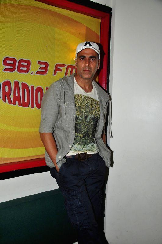 Actor Akshay Kumar promotes film Gabbar is Back at Radio Mirchi FM Studios, in Mumbai, on April 21, 2015.