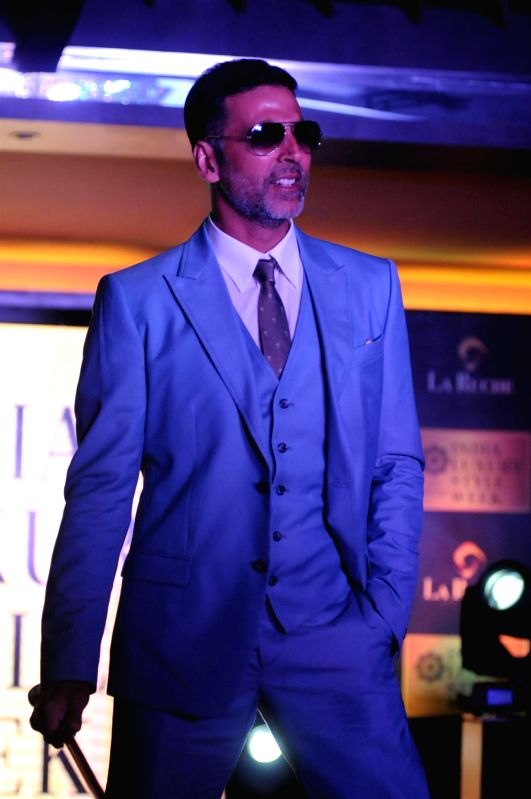 Actor Akshay Kumar walks on the ramp at the announcement of India Luxury Style Week 2015 in Mumbai on, April 28, 2015. - Akshay Kumar