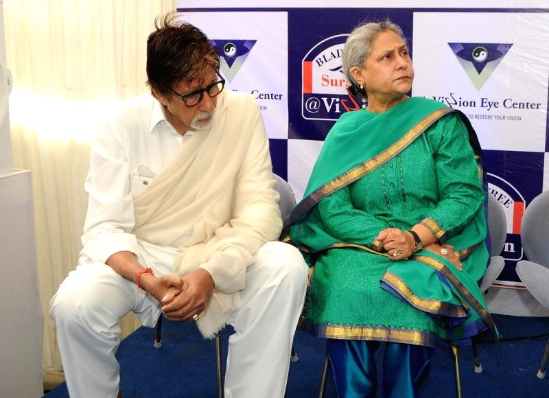 Actor Amitabh Bachchan and his wifeJaya Bachchan during the launch of eye care LenSx femtosecond laser, at the vision centre in Mumbai on Jan 21, 2015. - Amitabh Bachchan