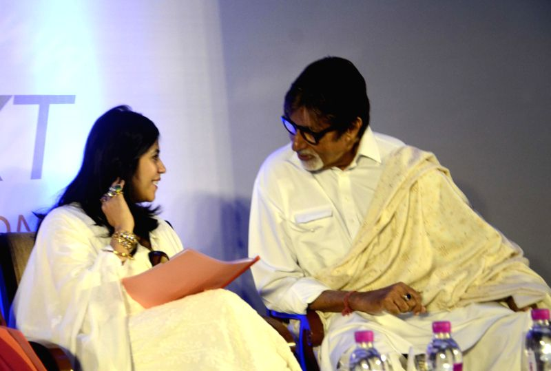 Actor Amitabh Bachchan and producer Ekta Kapoor at the inauguration of `Mumbai Next` conclave in Mumbai, on Feb 6, 2015. - Amitabh Bachchan and Ekta Kapoor