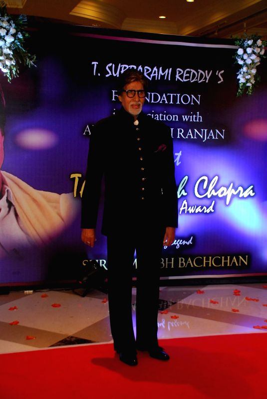 Actor Amitabh Bachchan arrives to attend the second Yash Chopra Memorial Award which was given to Amitabh Bachchan by the Governor of Maharashtra C Vidyasagar Rao in Mumbai, on December 25, .. - Amitabh Bachchan and C Vidyasagar Rao