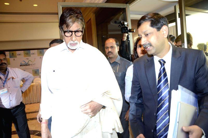 Actor Amitabh Bachchan at the inauguration of `Mumbai Next` conclave in Mumbai, on Feb 6, 2015. - Amitabh Bachchan