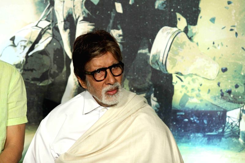 Actor  Amitabh Bachchan during the trailer launch of filmmaker Vidhu Vinod Chopra's maiden Hollywood venture Broken Horses at PVR Cinemas in Mumbai  on March 10, 2015. - Amitabh Bachchan and Vidhu Vinod Chopra