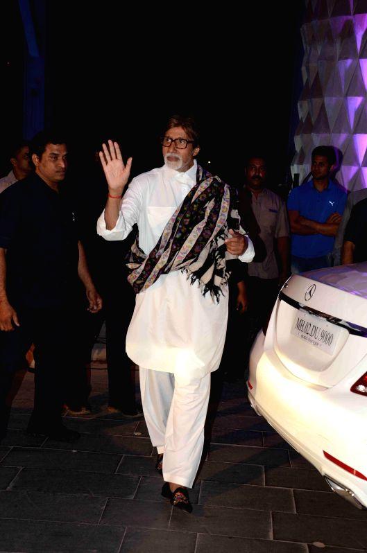Actor Amitabh Bachchan during the wedding reception of Bollywood filmmaker Smita Thackeray`s son Rahul Thackeray and Dr. Aditi Thackeray in Mumbai on Feb 13, 2015. - Amitabh Bachchan