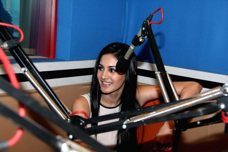 Actor Amyra Dastur during the promotion of her upcoming film Mr. X at Red FM office in Mumbai, March 31, 2015. - Amyra Dastur