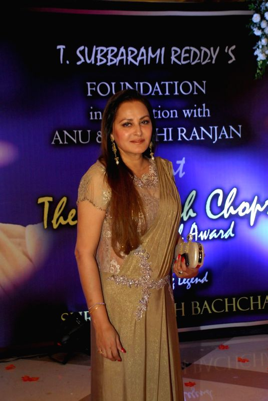 Actor and politician Jaya Prada arrives to attend the second Yash Chopra Memorial Award which was given to Amitabh Bachchan by the Governor of Maharashtra C Vidyasagar Rao in Mumbai, on ... - Amitabh Bachchan and C Vidyasagar Rao