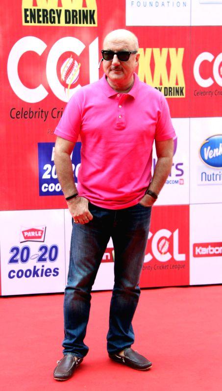 Actor Anupam Kher during the Celebrity Cricket League (CCL) in Mumbai, on jan. 10, 2015. - Anupam Kher