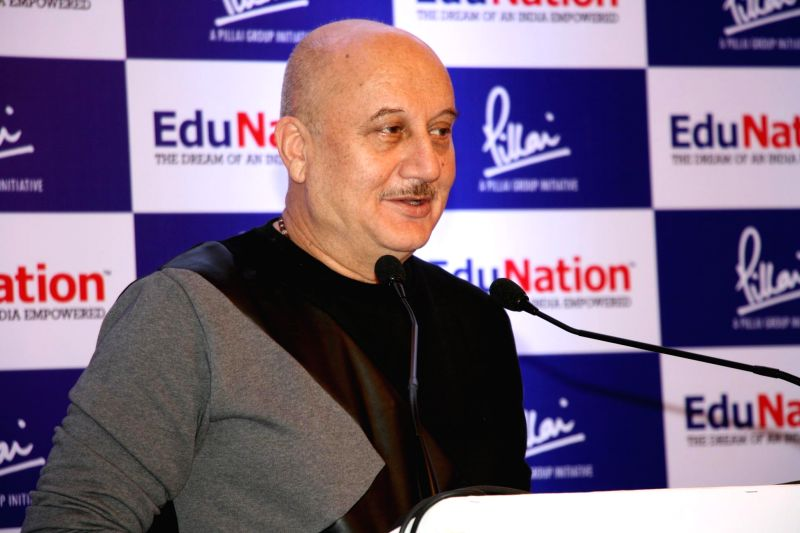 Actor Anupam Kher during the launch of Vasudevan Pillai`s book EduNation, in Mumbai on January 31, 2015. - Anupam Kher