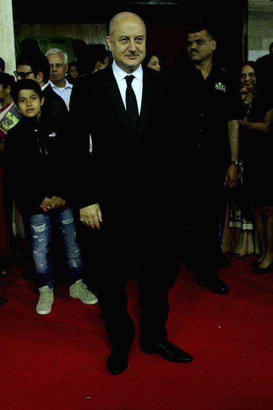 Actor Anupam Kher during the premiere of film Baby in Mumbai, on Jan. 23, 2015. - Anupam Kher