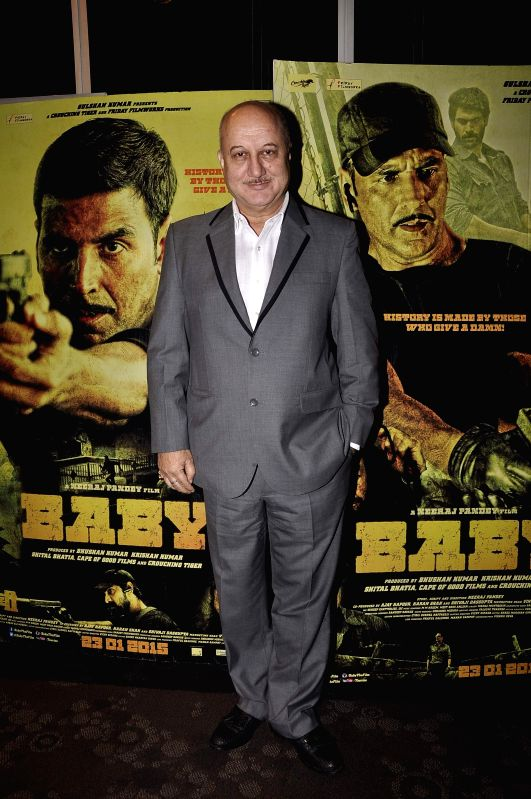 Actor Anupam Kher during the special screening of film Baby in Mumbai on 20th Jan 2015 - Anupam Kher