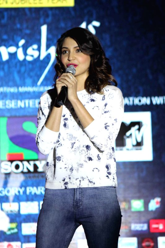 Actor Anushka Sharma during the promotion of film NH10 in Mumbai on Feb 17, 2015. (Photo : IANS) - Anushka Sharma