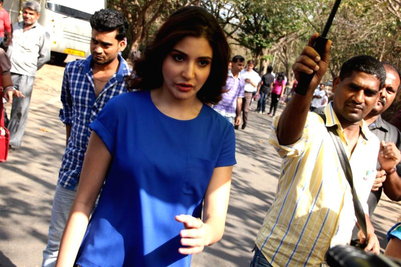 Actor Anushka Sharma promotes film NH10 on the sets of `Savdhaan India`, in Mumbai on Feb 20, 2015. This program features shocking crime stories inspired by real life events. The show mainly ...