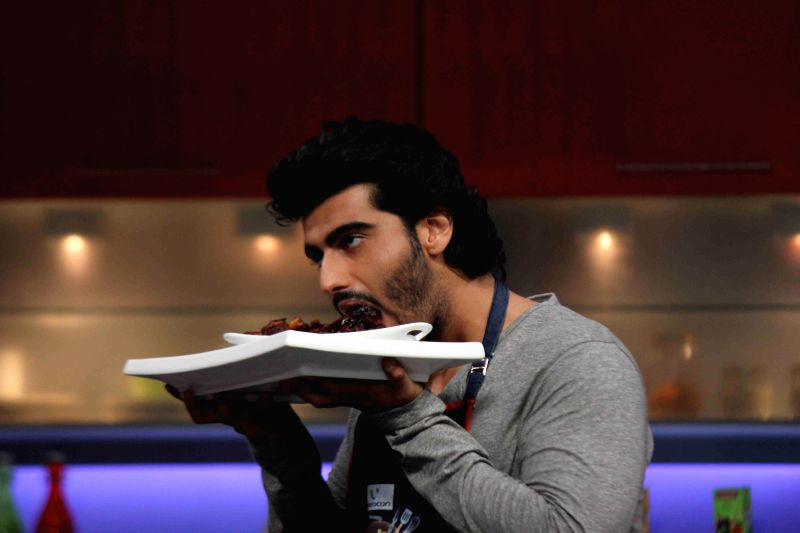 Actor Arjun Kapoor during the Color TV new cookery shows Farah Ki Daawat in Mumbai on March 4, 2015.