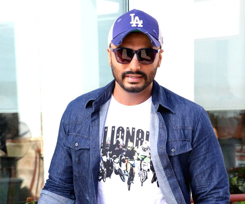 """Mumbai: Actor Arjun Kapoor during the promotions of his upcoming film """"India's Most Wanted"""" in Mumbai on May 14, 2019."""