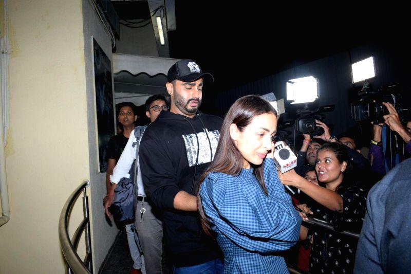 "Mumbai: Actor Arjun Kapoor with his girlfriend-actress Malaika Arora, at the screening of his upcoming film ""India's Most Wanted"" in Mumbai, on May 16, 2019. (Photo: IANS)"