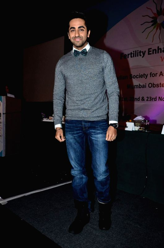 Actor Ayushman Khurana during the press conference of Fertility Enhancement & Management (FEM) in Mumbai, on Nov. 22, 2014.