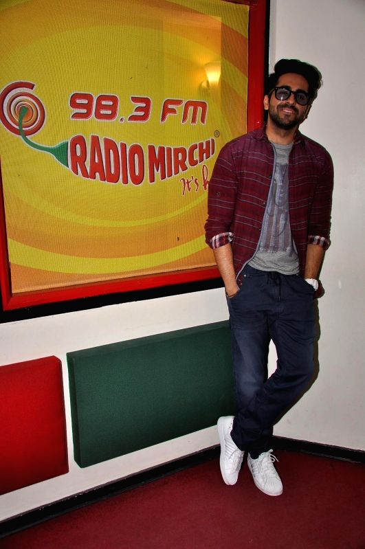 Actor Ayushmann Khurana during promotions of Dum Laga Ke Haisha at Radio Mirchi studio in Mumbai on March 13, 2015. - Ayushmann Khurana