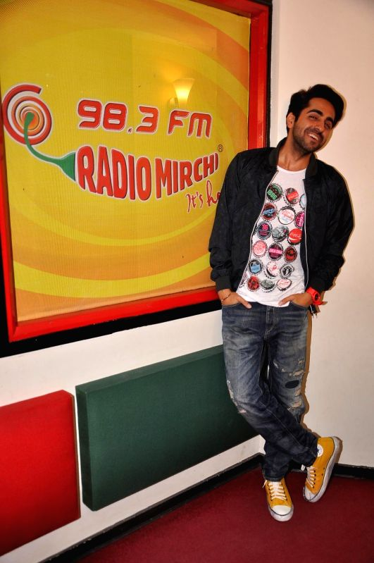 Actor Ayushmann Khurrana at Radio Mirchi studio for promotion of his upcoming film Hawaizaada in Mumbai, on Jan 08, 2015. - Ayushmann Khurrana