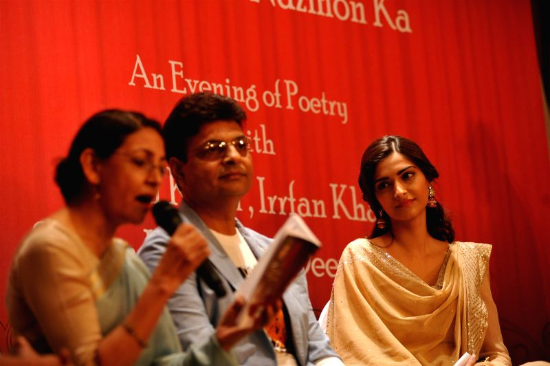 Actor Deepti Naval, author Irshad Kamil and actor Sonam Kapoor during the launch of Irshad Kamil`s book Ek Maheena Nazmon Ka , in Mumbai on Jan. 3, 2015. - Deepti Naval and Sonam Kapoor