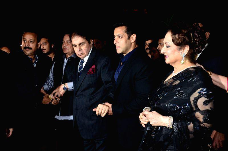 Actor Dilip kumar, Salman Khan and Saira Banu during Arpita Khan's marriage reception in Mumbai on November 21, 2014. - Dilip and Salman Khan