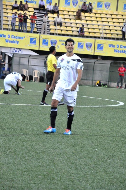 Actor Dino Morea during all stars football match in Mumbai on Feb 26, 2015. - Dino Morea