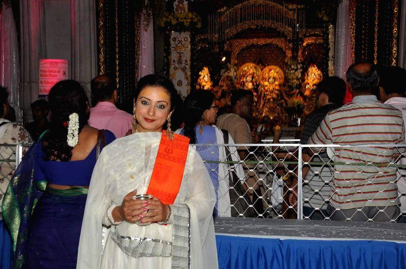 Actor Divya Dutta during the celebration of Ram Navami in Mumba on March 27, 2015.