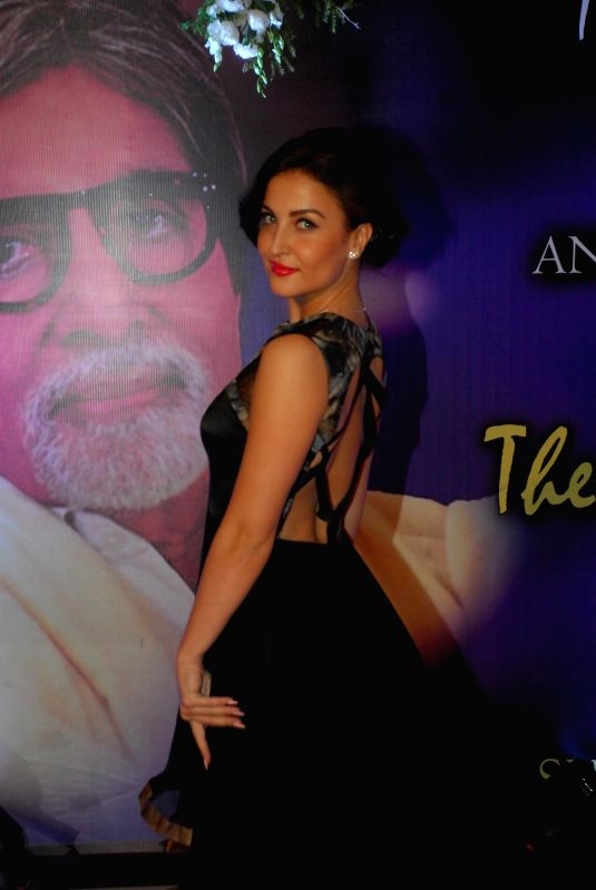 Actor Elli Avram arrives to attend the second Yash Chopra Memorial Award which was given to Amitabh Bachchan by the Governor of Maharashtra C Vidyasagar Rao in Mumbai, on December 25, 2014. - Elli Avram, Amitabh Bachchan and C Vidyasagar Rao
