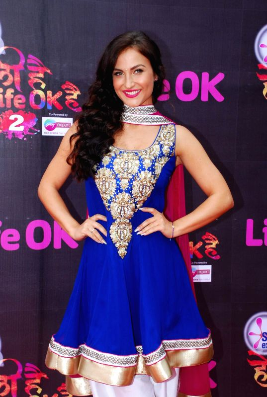 Actor Elli Avram during Life Ok`s Holi event  in Mumbai, on February 28, 2015. - Elli Avram