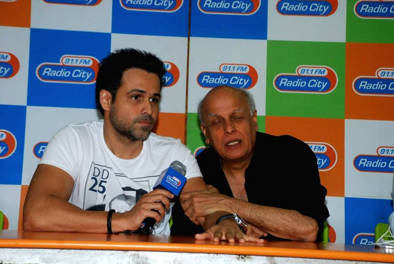 Actor Emran Hashmi and filmmaker Mahesh Bhatt during the music launch of film Mr. X at Radio City in Mumbai, on March 13, 2015. - Emran Hashmi