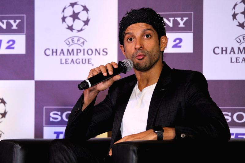 Mumbai: Actor Farhan Akhtar addresses at a programme, regarding the ongoing UEFA Champions League, in Mumbai, on May 6, 2019.