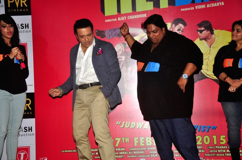 Actor Govinda,Choreographer and actor Ganesh Acharya during the trailer launch of film 'Hey Bro' in Mumbai on Jan. 15, 2015. - Govinda