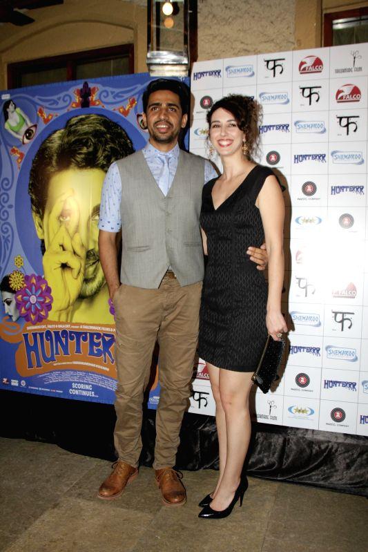 Actor Gulshan Devaiya with his wife Kallirroi Tziafeta during the success party of film Hunterrr in Mumbai on March 27, 2015. - Gulshan Devaiya