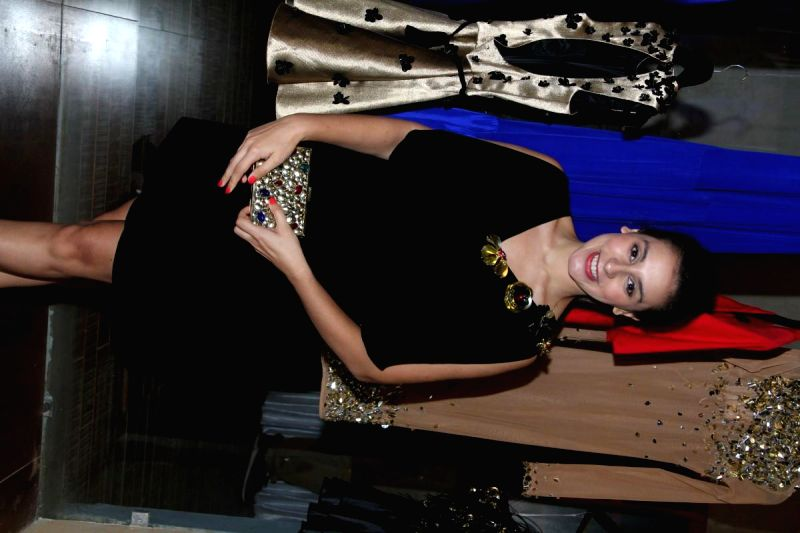 Actor Hasleen Kaur during a SS15 fashion soiree of Harsh Harsh by fashion designer Harsh Gupta in Mumbai on March 11, 2015. - Hasleen Kaur and Gupta