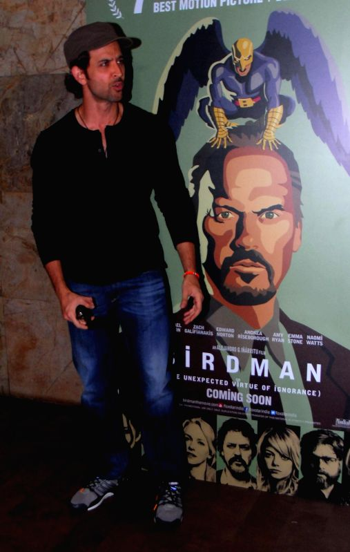 Actor Hrithik Roshan during the special screening of Hollywood film Birdman in Mumbai, on Jan. 16, 2015. - Hrithik Roshan