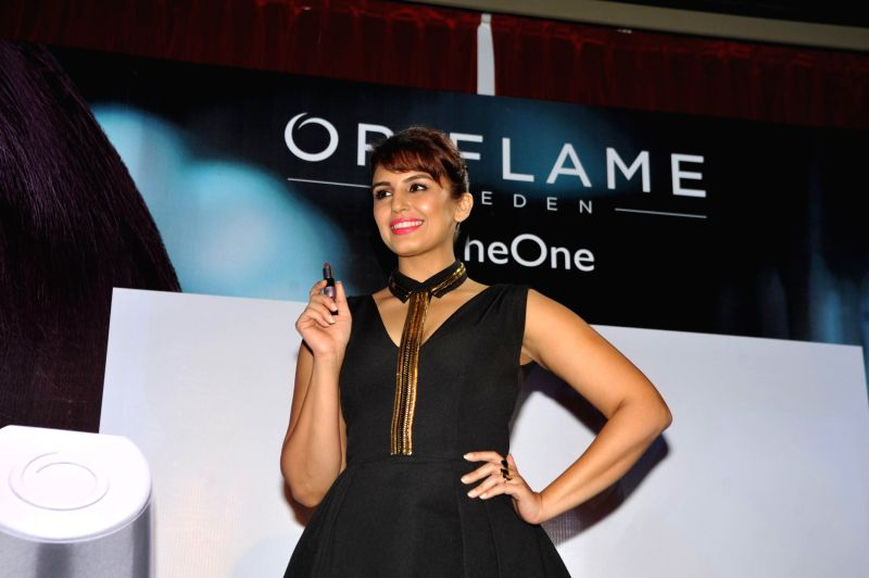 Actor Huma Qureshi during the launch of Oriflame`s The One cosmetics range in Mumbai on Feb 25, 2015.