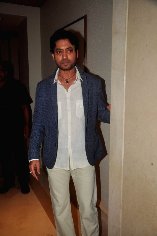 Actor Irrfan Khan during the media interaction of film Piku in Mumbai, on May 2, 2015. - Irrfan Khan