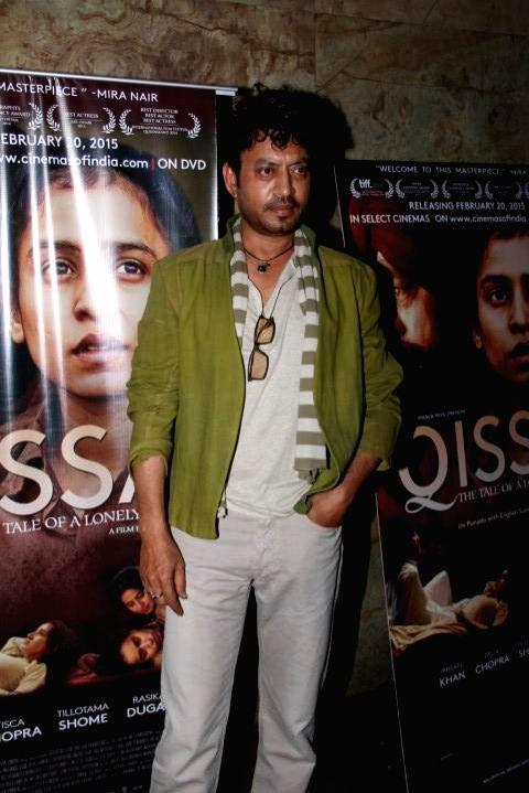 Actor Irrfan Khan during the screening of film Qissa, in Mumbai on Feb 19, 2015. - Irrfan Khan