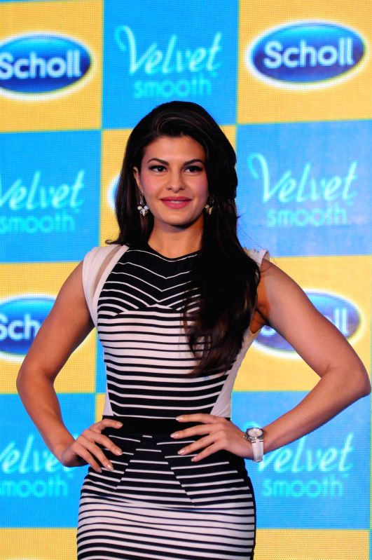 Actor Jacqueline Fernandes during the launch of Scholl Velvet Smooth Express Pedi in Mumbai, on Jan. 22, 2015.
