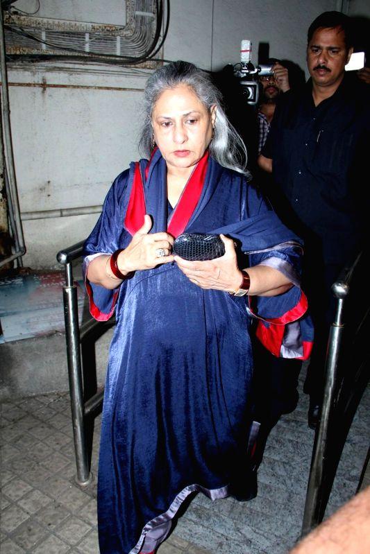 Actor Jaya Bachchan during the screening of film Shamitabh in Mumbai, on Feb 5, 2015. - Jaya Bachchan