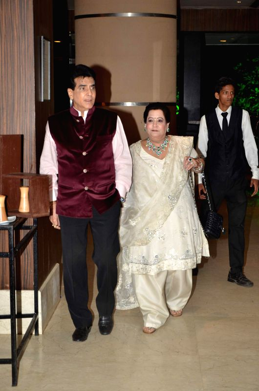 Actor Jeetendra and Shobha Kapoor during Karan Patel and Ankita Bhargava`s engagement and sangeet ceremony at the Novotel Hotel in Juhu, Mumbai on 1st May, 2015. - Jeetendra and Shobha Kapoor