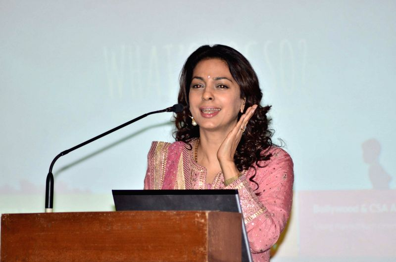 Actor Juhi Chawla during the launch of portal against Child Sexual Abuse (CSA) in Mumbai, on Nov 18, 2014.